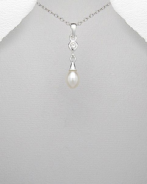 Sterling Silver Pearl and Crystal Drop Pendant