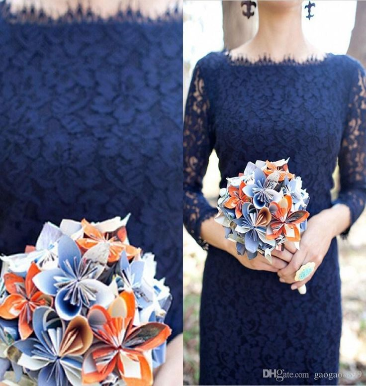 Discount Sexy Custom Navy Blue Lace Bridesmaid Dresses Sheath 3/4 Long Sleeve Knee Length Garden Bridal Party Evening Gowns 2015 Cheap Online with $80.11/Piece | DHgate.com