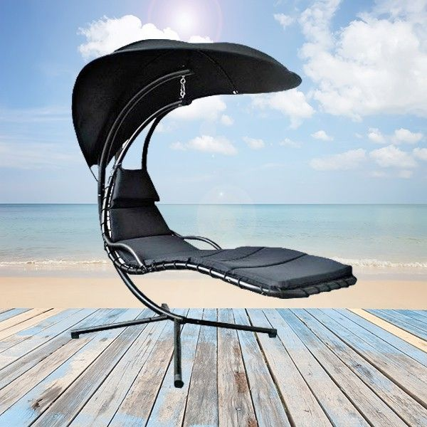 Luxury Floating Lounger With Shade - Black
