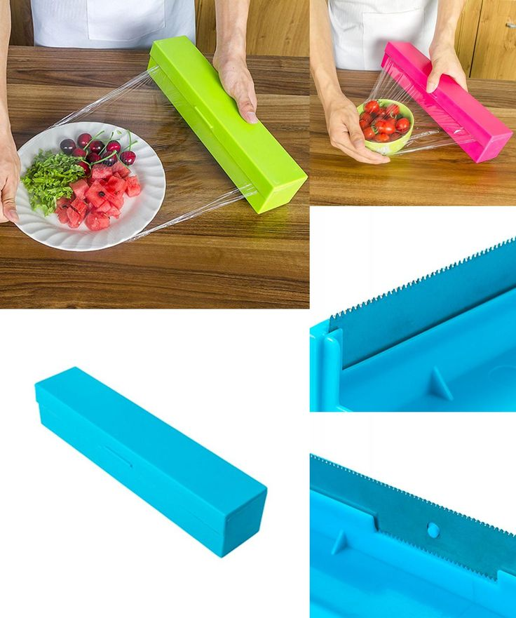 [Visit to Buy] Kitchen Tool Plastic Food Wrap Cling Film Dispenser Aluminum Foil Wax Paper Cutter Cutting Box Non-Toxic And Environmentally #Advertisement