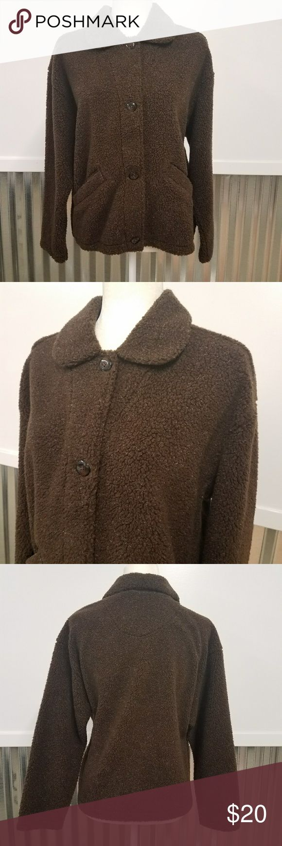 """Columbia Cozy Button Up Jacket Columbia Cozy Button Up Jacket in excellent condition. It is a size medium. Color is brown. Buttons up and has pockets. 65% Acrylic, 30% Polyester, 5% Modacrylic. Approximate measurements are: 24"""" Chest, 24"""" Long  (back collar to bottom) Columbia Jackets & Coats"""