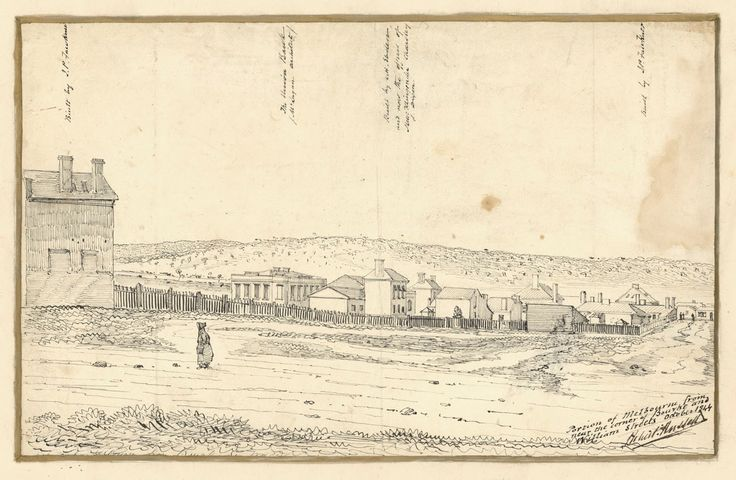 Pen and Ink Drawing of a Portion of Melbourne from near the corner of Bourke and William Streets October 1844
