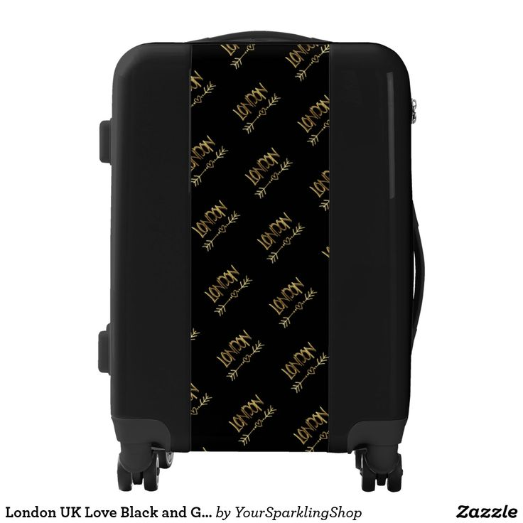 #London UK Love Black and Gold Look Typography#Luggage #CarryOn
