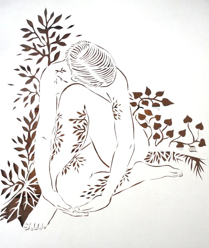 Paper cutting of female form and nature