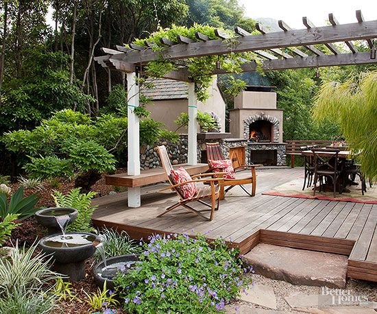 A pergola can stand on its own, but it can also work well with another outdoor structure such as a patio or deck. Its placement can help delineate traffic or use zones, such as a seating area.