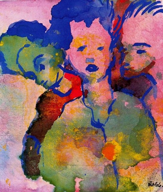 THREE YOUNG WOMAN, Emile Nolde (German~Danish 1867~1956) | He was one of the first Expressionists, a member of Die Brücke.