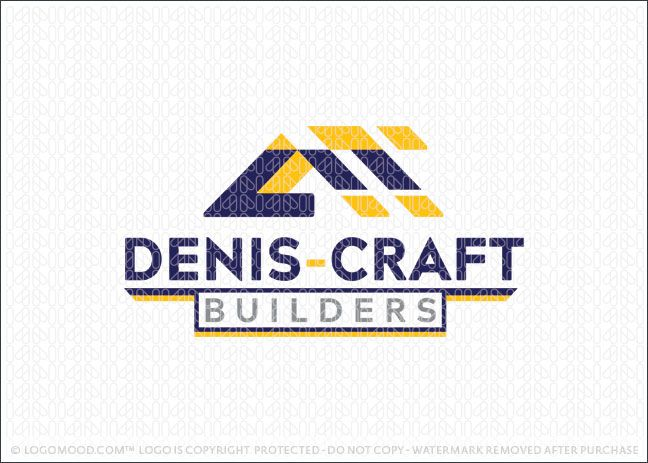 Logo for sale by LogoMood.com - Melanie D - Handyman construction building logo design featuring an abstract geometrical design representing the framework of a roof of a home design.