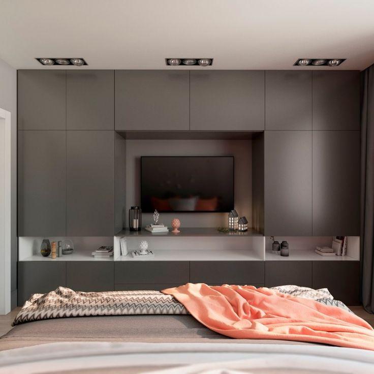 Нежная спальня в серых тонах с акцентами кораллового цвета - Дизайн интерьеров | Идеи вашего дома | Lodgers