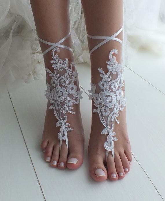 781c5a84cad5 White barefoot sandals Lace barefoot sandals Bridal shoes