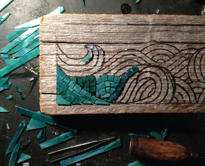 driftwood art mosaic | DIY - Driftwood, stained glass tiles, and wood burning