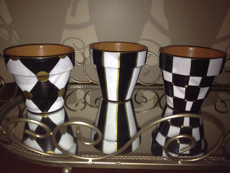 Hand Painted Black and White Terra Cotta Pots