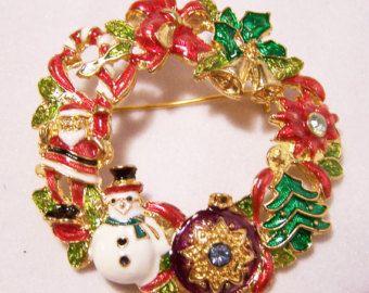 Christopher Radko Christmas Wreath Enamel Pin Brooch Santa Tree Snowman 914DG
