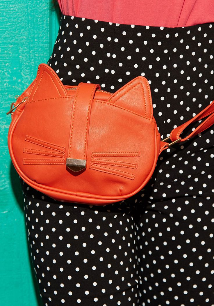 Do You Have to Let It Whisker? Bag. Youll be in deep with delightful style as soon as you settle the strap of this vegan faux-leather bag across your body! #orange #modcloth