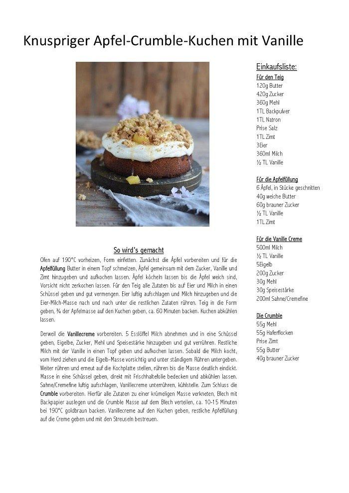 Knuspriger Apfel-Crumble-Kuchen mit Vanille