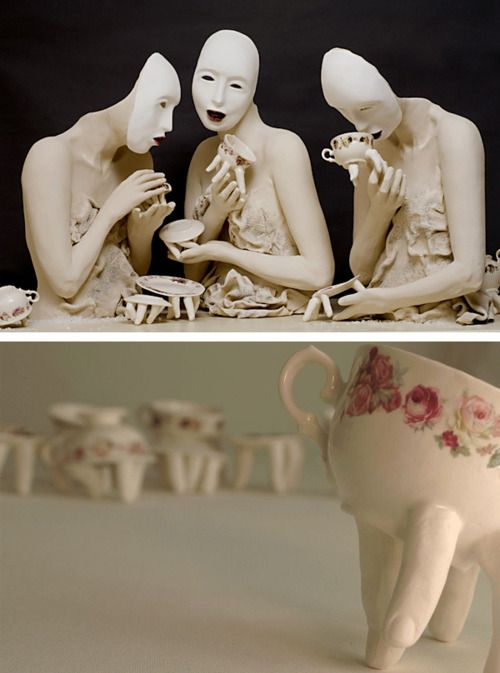 """clay/porcelain sculptures by Israeli artist Ronit Baranga: """"The use of fingers and mouths in my work is full of intent and meaning. The fingers and the mouth are very sensual organs in the human body and are therefore very powerful as separated items from it. The """"seamless"""" combination of these organs in plates or cups, appearing as one, creates, in my opinion, new items that """"feel"""" their environment and respond to it."""""""