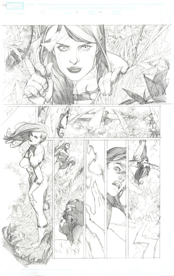 Leinil Francis Yu New Avengers w/ SpiderWoman Comic Art