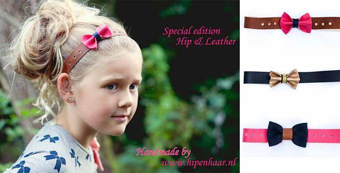 Nieuw bij hipenhaar.nl - Bijpassende lederen haarbandjes met strik. Maak het kledingsetje compleet met deze leren haarbandjes. #leder #haarbandjes #hip #strik #kinderkleding