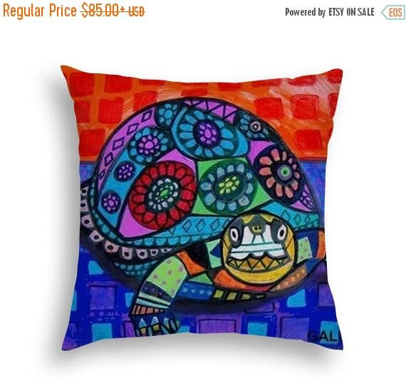 40% Off Today- Turtle Folk Art throw Pillow by Heather Galler - 5 Sizes to choose from