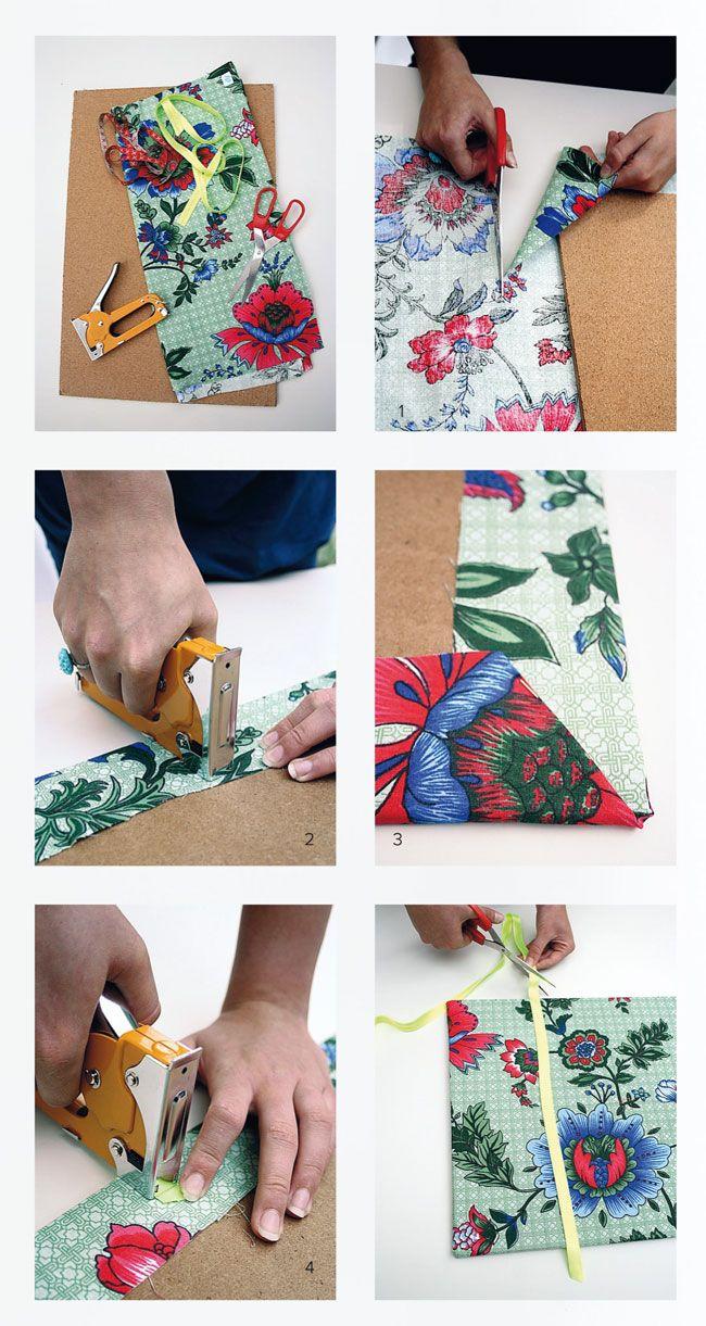 zelf een prikbord maken http://www.101woonideeen.nl/zelfmaken/prikbord-van-stof.html