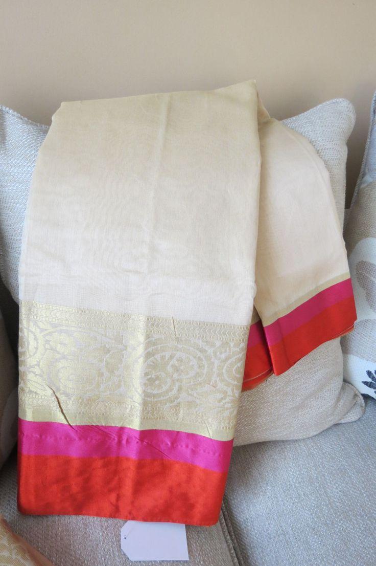 Beige Chanderi cotton silk Saree with Beige Blouse Piece by ZainabBoutique on Etsy