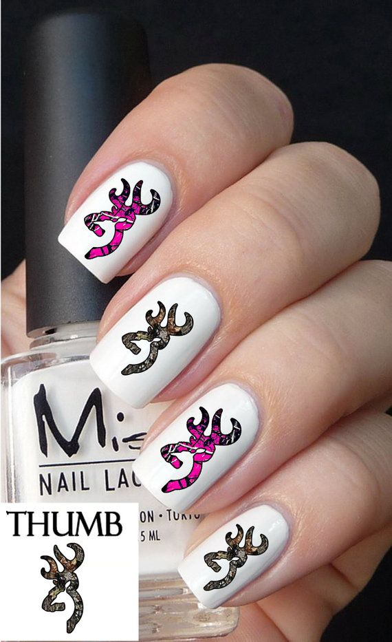 Hey, I found this really awesome Etsy listing at https://www.etsy.com/listing/166360761/50pc-pink-and-camo-deer-nail-decals