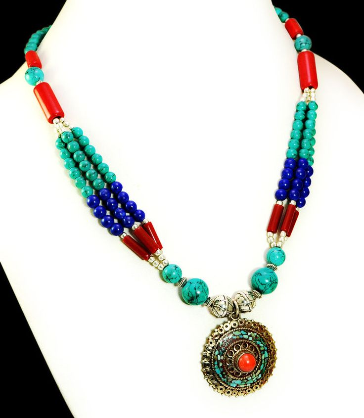 A Vintage Silver Nepali Turquoise Coral & Lapis Gemstone Necklace GNN509 #Handmade