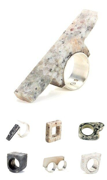 Sculptural Granite Rings - contemporary jewellery design; wearable stone art // Rodete