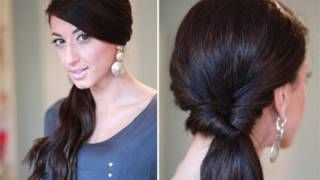 Simple Looped Side Ponytail, via YouTube.