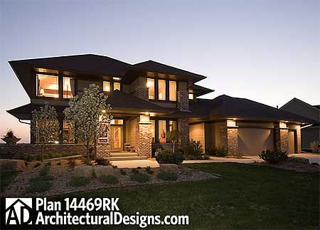 Modern Prairie Style | Turn garage to create l-shaped plan. Change formal dining into guest suite.