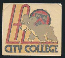 Los Angeles City College _RARE_ ORIG 1940's Decal vtg Cubs UCLA California seal