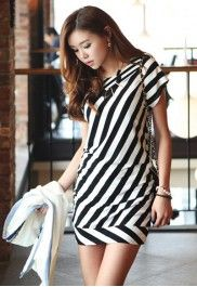 Black and white diagonal striped dress