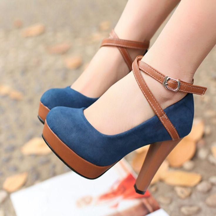 brown and blue suede criss cross heels if I definitely wear these Then I  could say Stay off of my blue suede shoes