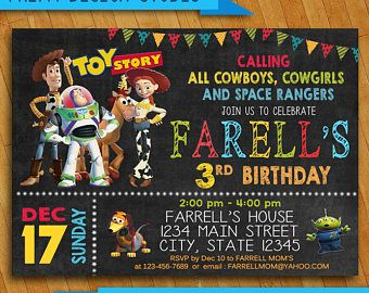 Toy Story Invitation-Toy Story Invite-Disney Pixar Toy Story