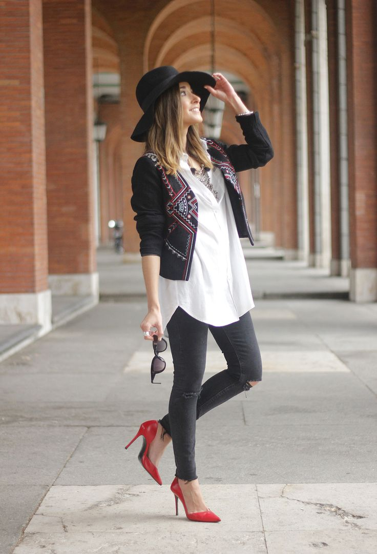 embroidered jacket black ripped jeans hat parfois red shoes outfit06