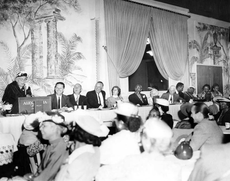 """This photo is great for two reasons: 1. It was taken at the Alexandria Hotel on April 24, 1960; and 2. The lady being honored at the podium was civil rights activist and publisher Charlotta Bass, thought to have been the first black woman to start a newspaper (""""California Eagle"""") in the United States -- back in 1912! ~ USC Digital Archive (Bizarre Los Angeles)"""