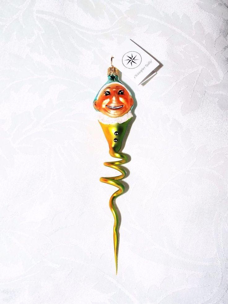 """CHRISTOPHER RADKO LIME GREEN YELLOW CLOWN SNAKE, Retired Jester Swirl Decor 7.5"""""""
