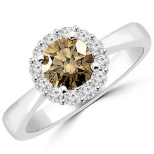 VS1 Fancy-Brown Diamond Halo Engagement Ring