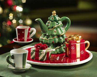 . ... Tree Mini Collectible Holiday Teapot & Tea Set from Collections Etc