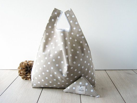 tote bag polka dots / shabby chic shopper / by AtelierSettembre - these are so useful and eco friendly!