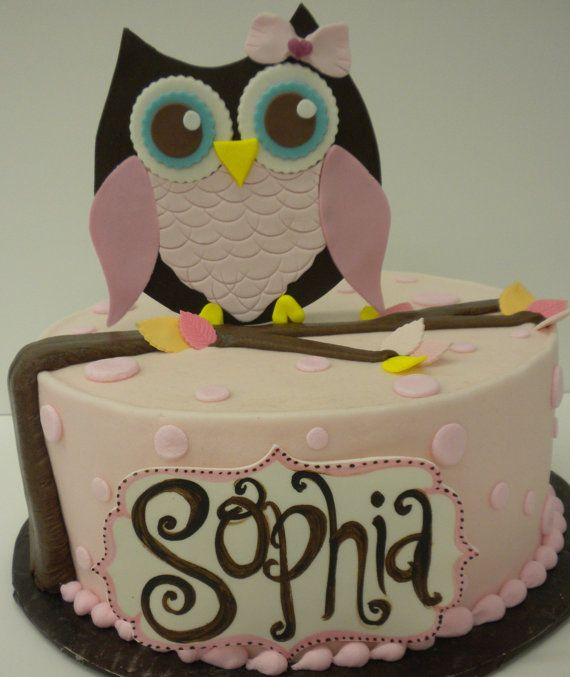 Fondant Owl Cake Topper Fondant Leaves and by SweetBoutiqueCake, $26.99