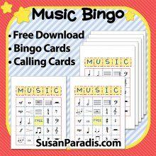 Easy Music Bingo | Susan Paradis | Free Piano Teaching Resources | Easy