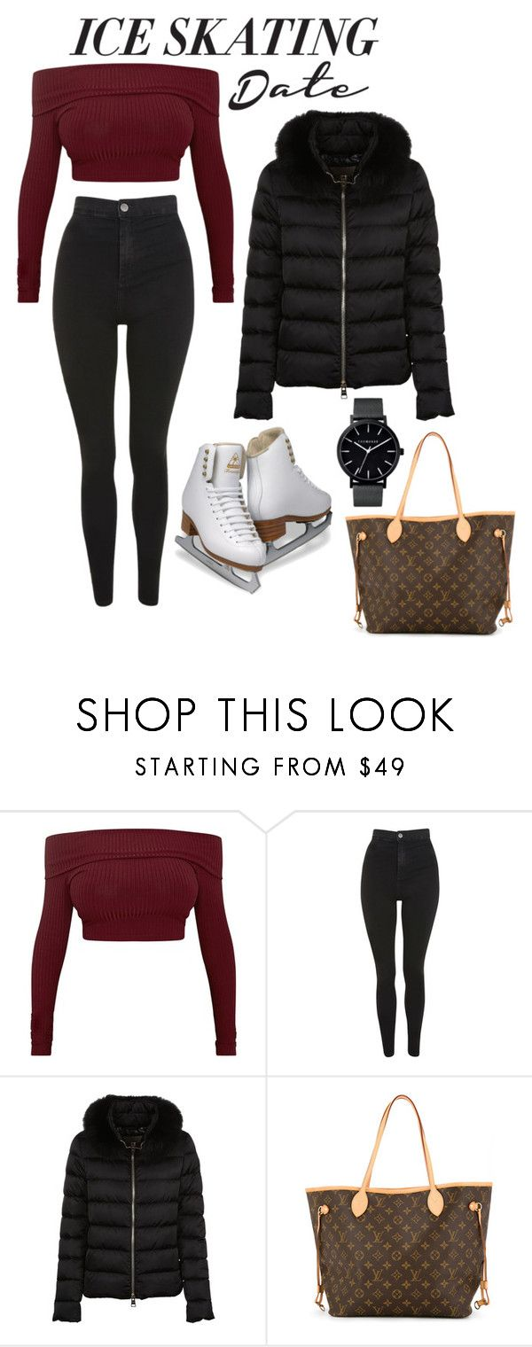 """Skate Date: Ice Skating Outfit"" by milliebroderick ❤ liked on Polyvore featuring Topshop, Herno and Louis Vuitton"