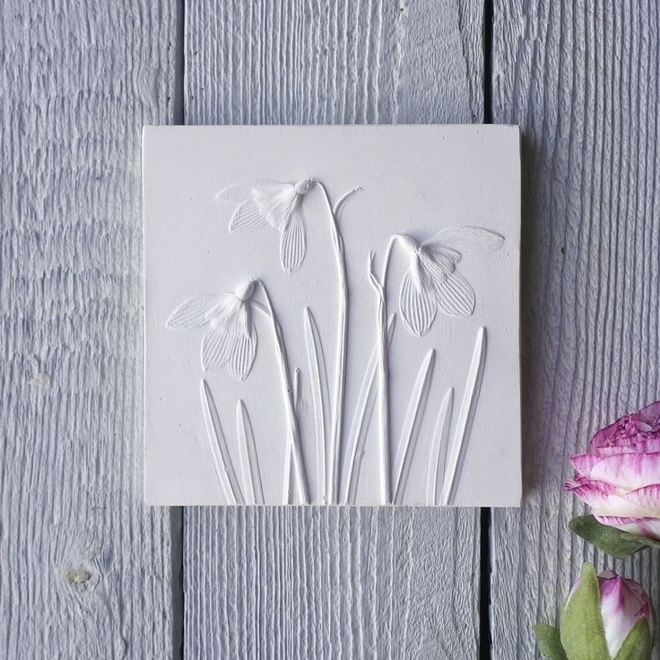 Snowdrops No.2 plaster cast tile