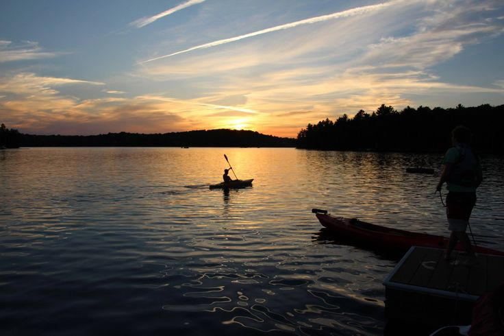 My Son Cody paddling into a beautiful Muskoka sunset!