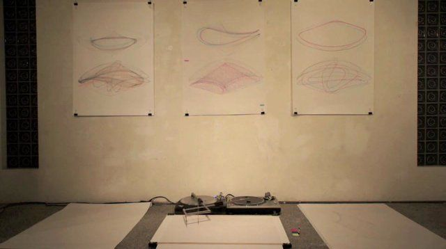 turntablism for the hard of hearing. Turntablism for the hard of hearing: harmonic motion (a harmonograph turntable drawing machine) 2012  N...