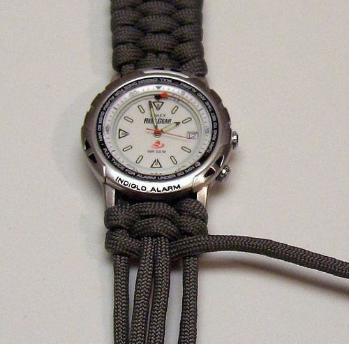 Make a watch out of paracord banding. Great for any emergency or a gift for the man in your life!