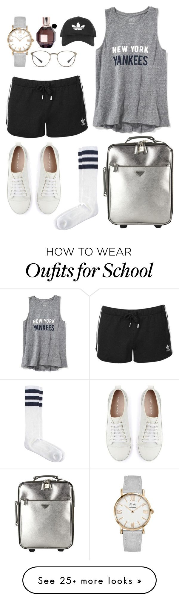 """high school"" by adele-adik on Polyvore featuring Prada, Ray-Ban, Mint Velvet, Old Navy, American Apparel, Topshop and Viktor & Rolf"