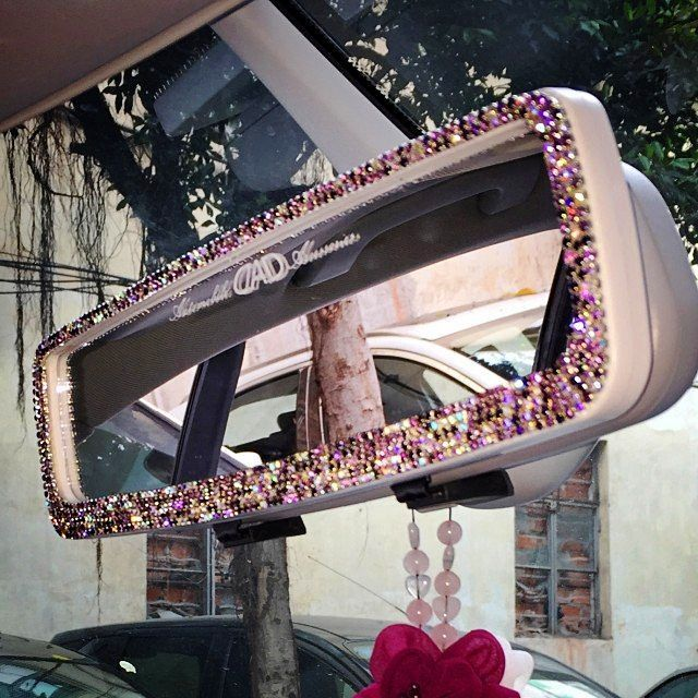 Bling Car Rearview Anti Dazzle Mirror with Multicolor Rhinestones crystal Rear View Cover - Carsoda - 1