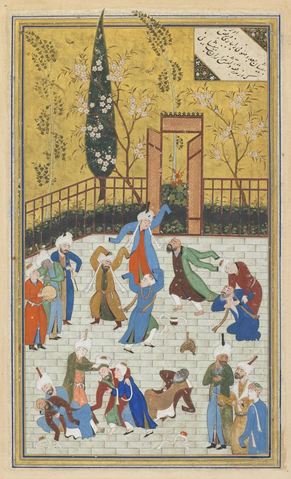 Arts of the Islamic World | Folio from a Divan (collected poems) by Hafiz (d. 1390); recto: Sufi dance; verso: text, Poem of God's me...