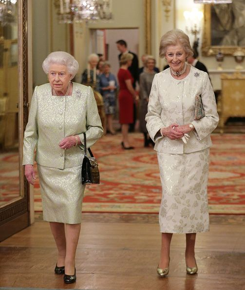 (L-R) Queen Elizabeth II and Princess Alexandra are seen during a reception to celebrate the patronages of the Princess, in the year of her 80th birthday at Buckingham Palace on November 29, 2016 in London, England.